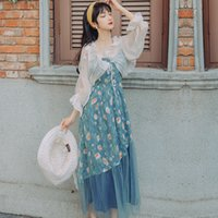 ingrosso migliori cappotti di vestito-Cappotto per protezione solare in chiffon bianco da donna serie # # due pezzi di alta qualità e abito da spiaggia estivo da ballo sexy floreale blu per feste 1391