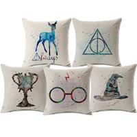 aquarela de travesseiro venda por atacado-Harry Potter o Cálice de Fogo Almofada cervos Watercolor capas de almofada capa espessa lençóis de algodão fronha Quarto Sofá Decor