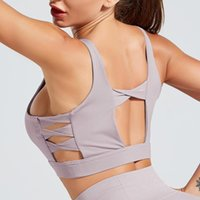 línea de espalda sujetador al por mayor-Mujeres X Líneas Yoga atractiva sujetador Volver Cruz Correa diseño hueco sujetador de los deportes mujer a prueba de golpes de fitness entrenamiento de la gimnasia empuja hacia arriba Tops