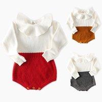 babyhäkelarbeit langarm groihandel-Mode Baby-Strampler Boutique gestricktes Baby Body Frühling Herbst Baumwolle Langarm-Baby-Rüsche-Spielanzug Farbe 3 für wählen 17.092.001