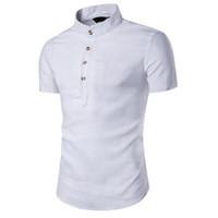 черная белая льняная одежда оптовых-Летняя Рубашка Мужская Плюс Размер Китайский Стиль Льняные Рубашки Мужские Топы С Коротким Рукавом Блузка Белый Черный Модис Одежда Camisa Masculina