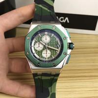 uhrenbänder zum verkauf großhandel-2019 heißer verkauf Die neuesten Royal Luxury 26400 SO Serie japanischen VK Quarz Grün und Blau Camouflage Advanced Rubber Watchband