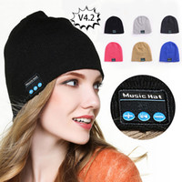 Wholesale wireless cycling resale online - Free DHL Bluetooth Music Beanie Hat Wireless Smart Cap Headset Headphone Speaker Microphone Handsfree Music Hats OPP Bag Package M641F