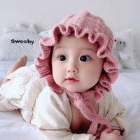 chapeau de dentelle au crochet achat en gros de-7 couleurs Baby Girls Ins Jolie dentelle coton princesse Hat hiver pour enfants Soft Ear Crochet Hat Protect Enfants Accessoires cheveux