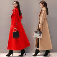 casacos à moda feminina venda por atacado-Elegante Outono E Inverno das Mulheres Blusão Casaco Feminino Trench Coat Para As Mulheres Longo Casaco de Vento Cardigan Para As Mulheres Sobretudo