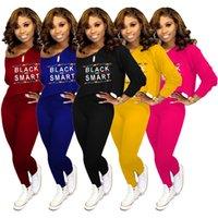 schwarzes yogahose-outfit großhandel-Schwarz smart frauen herbst designer outfits buchstaben gedruckt tops hosen 2 stück kleidung sets