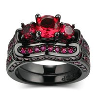 ingrosso signore anelli pietre naturali-Luxury Women Round Natural Gemstone Stone Red Ruby Anello di fidanzamento Set Ladies Wedding Ring Size 5 -12