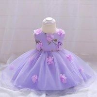 habille petite fille mois achat en gros de-ABGMEDR Marque 0-24 mois Petits layette nouveau-nés Bébés filles robe Vêtements bébé belle fleur robe en dentelle