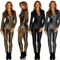 Wholesale snake woman costume online - Snake Skin Gold Jumpsuit Long Sleeve Front Zipper Black Gray Bodysuit Ladies Playsuits Faux Leather Catsuit For Women