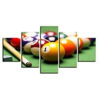 unterhaltung poster großhandel-5 Stücke Kombinationen HD billard Sport Unterhaltung Ungerahmt Leinwand Malerei Wanddekoration Ölgemälde poster