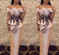 Wholesale light power designer for sale - Designer Peplum Black Applique Evening Dresses Women Off Shoulder Open Back Sheath Elegant Formal Evening Gowns Special Occasion Prom Dress