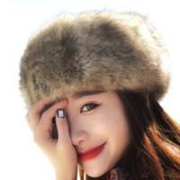 4e83959123d Women Hats Lady Russian Tick Fluffy Fox Fur Hat Headband Winter Earwarmer  Ski Hat Female Hats For Autumn Winter Spring