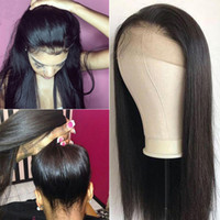 bakire saç tam dantel peruklar toptan satış-360 Tam Dantel İnsan Saç Peruk Düz İnsan Saç Dantel Ön Peruk 130% Yoğunluk Remy Bakire Brezilyalı Saç