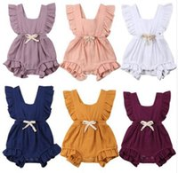 Wholesale climbing clothing online - Baby Ruffle Romper Solid Color Newborn Infant Back cross Bow Jumpsuits Summer fashion Boutique kids Climbing clothes C6108