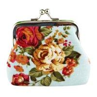 ingrosso borsa della moneta del fiore di rosa dell'annata-portamonete Portafogli donna Lady Retro Vintage Flower Portafoglio piccolo Hasp Purse Clutch mini bag piccole borse portafogli pochette * 0.35
