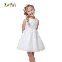 Wholesale beautiful summer baby girl dresses resale online - 2019 Summer New Quality Children Clothes Teenager Kids For Age Beautiful Lace White Baby Girls Dress MX190725