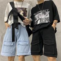 pantalones holgados coreanos de las mujeres al por mayor-Talla grande Baggy Loose Straight Cargo Jogger Knee Denim Pant Summer Summer Women Hombre Streetwear Wide Short Jeans Harajuku