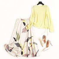saias amarelas imprime moda venda por atacado-Novo 2019 Moda Outono Magro Amarelo Tops Camisola de Malha Ruched Pullovers + Folhas de Ternos de Saia de Impressão A-line Saias 2 Conjuntos de Pc