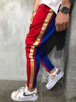ingrosso pantaloni da escursionismo nero-Pantaloni sportivi da uomo S Pantaloni muscolosi Colore corrispondenza Hip hop Piedi piccoli Tether da uomo Pantaloni sportivi casual
