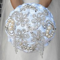 2020 New Fashion Ivory White Bridal Wedding Bouquets Pearls Beading Brooch Bridesmaid Artificial Colorful Wedding Bouquets