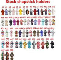 Wholesale chapstick keychain resale online - 59styles Lily Chapstick Holder Keychain Cover Case Lipstick Holder Neoprene Lip Balm Pouch Baseball ball Striped Leopard Gifts AAA2055