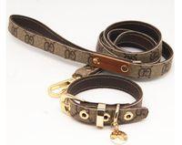 coleiras de cachorro venda por atacado-Padrão clássico série pet colar de couro corda de tração terno andando cão artefato CW001