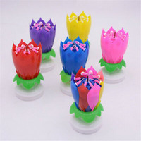 vela de flor rotativa venda por atacado-Musical vela do aniversário mágico Lotus Flower Velas Blossom Rotativas Gire partido Candle 14 Velas Pequenas 2 camadas bolo ZZA1330