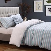 ropa de cama de punto de la reina al por mayor-Ropa de cama suave de algodón de punto Azul gris Marrón Juego de sábanas a rayas Twin Queen King Size Sábana en forma de cama Funda nórdica Funda de almohada