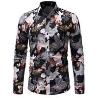 ingrosso le camicie lunghe del vestito dal collare-2019 punto collare fiore stampe camicie mens vestiti manica lunga mens camicie casual slim fit camisa sociale masculina 021316