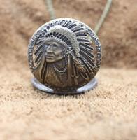 diseño de la cadena india para los hombres al por mayor-Retro Antiguo Indio Viejo Diseño de Retrato Cara Cuarzo Reloj de bolsillo Collar normal Cadena Relojes Reloj masculino Mejores regalos