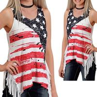 camisa de dobladillo asimétrico al por mayor-4 de julio Souvenir Mujer camiseta sin mangas Borlas Estrellas Estampado con una camiseta de manga dobladillo asimétrico Verano ropa de mujer 2019