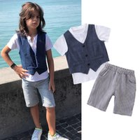 Wholesale baby boys clothing sets online - kids designer clothes boys gentleman outfits children Vest top stripe shorts set Summer fashion Boutique baby Clothing Sets C6547
