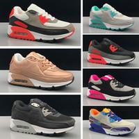 ayakkabı düğmeleri toptan satış-Nike Air Max 90 BOY Kızlar Genç 90 sihirli düğme Çocuk Koşu Spor Ayakkabı çocuk Sneaker Size28-35