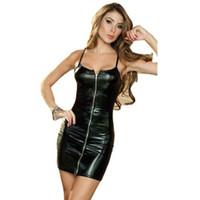 ropa de latex negro al por mayor-Mujeres Negro Sexy Bodycon Vestido de Cuero Sexy Strappy Zipper Latex Club Wear Ropa Mini Vestido Catsuits Cat Trajes Vestidos