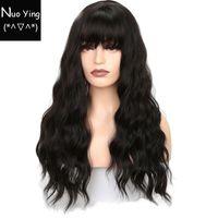 Wholesale black wavy wig bangs resale online - Long Wavy Wigs for Black Women African American Synthetic Hair Grey Brown Wigs with Bangs Heat Resistant Wig