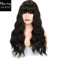 siyah dalgalı peruk patlamaları toptan satış-Siyah Kadınlar için uzun Dalgalı Peruk Afro-amerikan Sentetik Saç Gri Isıya Dayanıklı Peruk ile Kahverengi Peruk