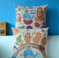 Wholesale cute animal pillow cases for sale - Group buy linen pillow case cover Decorative Animal Party Cushion Cover Cotton Linen Cute Sofa Bed Pillow Case Square Pillow Cover KKA7019