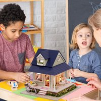 Wholesale 3d assembly diy toys for sale - Group buy Creative D DIY Wooden Angel House Bicycle Model Kids Manual Assembly Toys Human doll house accessories