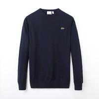 ingrosso uomini v polo collo-Moda nuovo polo di alta qualità degli uomini ritorto ago # 76ACOSTE Maglione di cotone lavorato a maglia maglione con scollo a V Maglione Pullover maschile