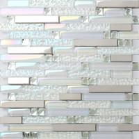 moderne küchenfliesen großhandel-Glasmosaik Küchenfliese backsplash Badezimmer Dusche Wandfliesen SSMT399 Silber Metall Edelstahl Mosaik