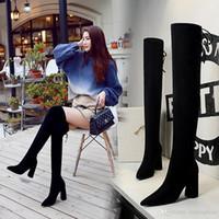 botas elegantes al por mayor-Sexy2019 Elegant Back Knot Slim Fit Thick Heel Over The Knee Boots Botas de diseñador para mujer Tamaño de 8,5 cm a
