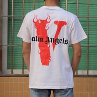 nächstes rot großhandel-19SS VLONE PALM ENGEL T-shirt Miami POP Limit Großes Logo V Joint Tee Kurzarm Männer Frauen Vier farbe Hochwertiges T-Shirt HFBYTX284