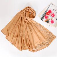 бисер хиджаб оптовых-Lace floral hijab scarf plain bubble chiffon wraps  shawls muslim fashion long headband wraps islamic scarves 10pcs/lot