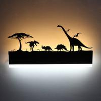 siyah banyolar toptan satış-Romantik LED Duvar Lambası Yaratıcı Boyama 110-240 V Modern Siyah Aplik Dekorasyon Banyo Oturma Yatak Odası Için Hayvan