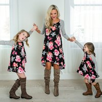 Wholesale mother girls pageant dresses resale online - 2 T Mother and Daughter Dress Floral Matching Mom Girls Family Clothes Outfits Beach Dress Elegant Princess Pageant Vestidos