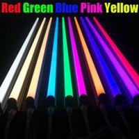 gelbe led-lichtleiste großhandel-Zweireihige bunte rote grüne blaue gelbe T8 LED-Leuchtröhre, mattierte milchige Abdeckung, 1Ft 2Ft 3Ft 4Ft 6Ft 8Ft, bunte geführte Stangenlichter