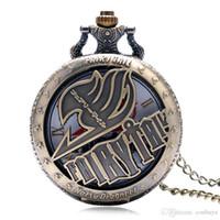 ingrosso guardare le fate-Hollow Half Hunter Fairy Tail Pocket Orologio da taschino Antique Uomo Donna Catena pendente Unico Cool Steampunk Vintage Orologio per bambini