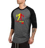 combinaison d'entraînement en coton achat en gros de-2019New fashion Fitness T-shirt de Sport pour Hommes Body-building Couleur Ronde À Manches rondes Costume De Formation Pur Coton Fitness Fitness À Manches Longues