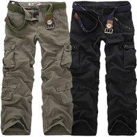 camo hose größe 28 großhandel-Hochwertige Herren Cargo Beiläufige Lose Multi Pocket Military Hosen Lange Hosen Für Herren Camo Jogger Plus Größe 28-40 Q190518