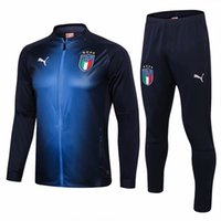 Wholesale adult fleece jacket for sale - Group buy 18 Italy De Rossi adult jackets Royal blue tracksuits Balotelli Barzagli training suits Buffon long sleeve full Zipper sportswear